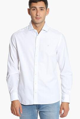 Burshed Cotton Multi Trim Kent Slim Fit Shirt