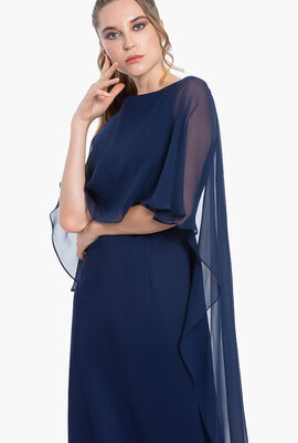Cape Sleeves Crepe Gown