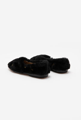 Horse Embroidered Fur Flats