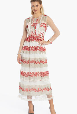 Floral Print Tulle Maxi Dress