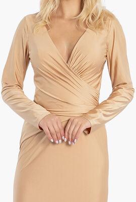 V Neck Metallic Stretch Gown