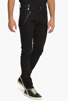 Leather Pocket Stretch Jeans