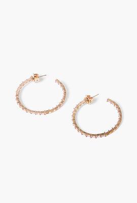 Rose Gold Baguette Inside Out Hoop Earrings
