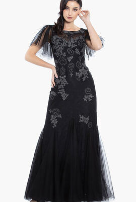Embroidered Lace Tulle Gown