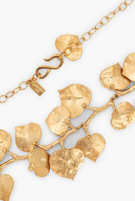 Satin Gold Branch and Leaf Necklace
