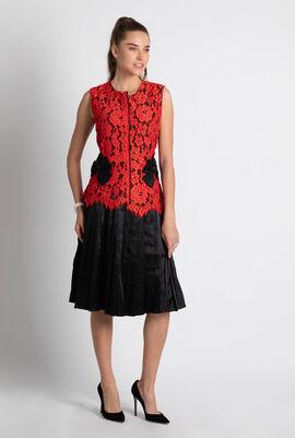 Lace Pleated Shift Dress