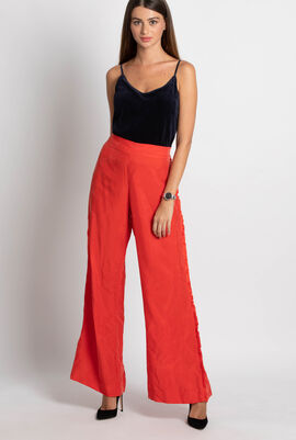 Malin Fringed Washed-Crepe Trousers