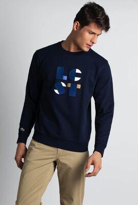 قميص ثقيل من صوف وقطن برقبة مستدير مزين حروف LCST