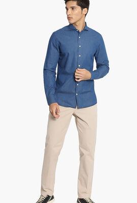 Plain Denim Slim Fit Shirt