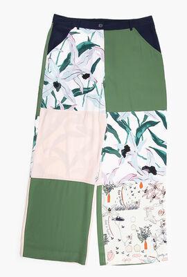 Printed Silk Wide-Leg Pants