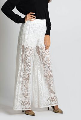 Embroidered Wide Leg Trouser