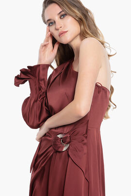 Tie-Neck One-Shoulder Dress