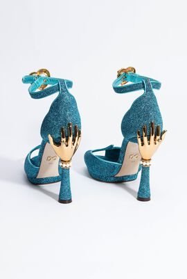 Soft Lurex Sandal WITH Sculpted Heel