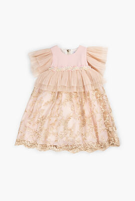 Ruffle and Embroidered Lace Baby Dress