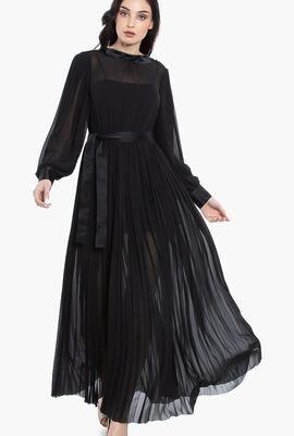 Pleated Maxi Shirt Dress